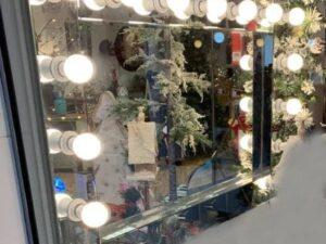Hollywood Wall Mirror Silver Including 15 Bulbs