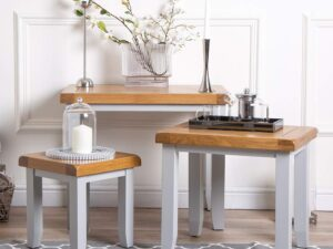 French Grey Painted Nest Of 3 Tables