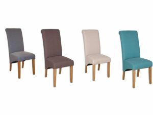 Fabric Roll Back Dining Chair Ready Built