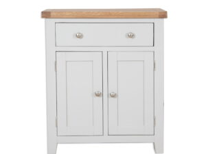 French Grey Painted Hall Cupboard With Drawer