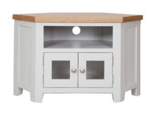 French Grey Painted Corner TV Unit With Glazed Doors