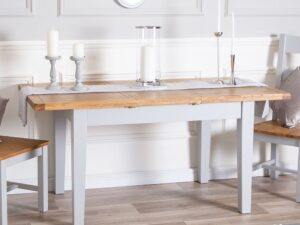 French Grey Painted Dining Table Extending