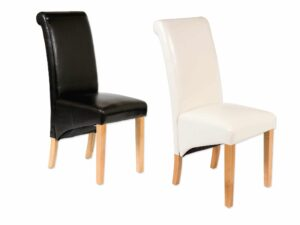 Faux Leather Roll Back Dining Chair