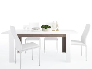 Dining set package Chelsea Living Extending Dining Table + 6 Milan High Back Chair White.