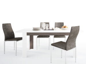 Dining set package Chelsea Living Extending Dining Table + 6 Milan High Back Chair Dark Brown