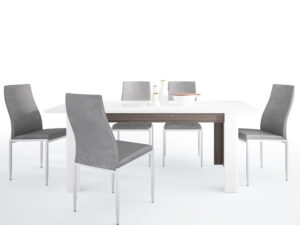 Dining set package Chelsea Living Extending Dining Table + 6 Milan High Back Chair Gray