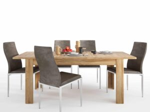 Dining set package Cortina Extending dining table in Grandson Oak + 6 Milan High Back Chair Dark Brown.