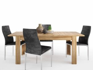 Dining set package Cortina Extending dining table in Grandson Oak + 6 Milan High Back Chair Black.