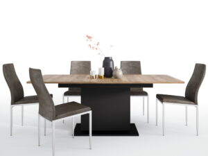 Dining set package Brolo Extending Dining Table + 6 Milan High Back Chair Dark Brown