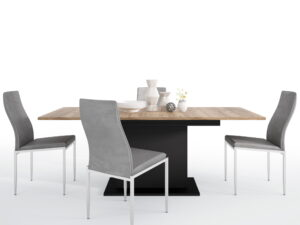 Dining set package Brolo Extending Dining Table + 6 Milan High Back Chair Grey.