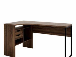 Corner Desk 2 Drawers in Walnut