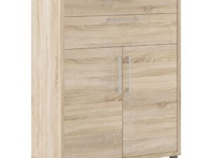 Prima Bookcase 2 Shelves with 2 Drawers and 2 Doors in Oak