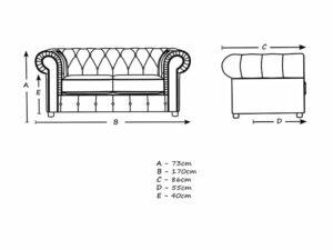 chelmsford 2 seater dimensions plush fabric sofa