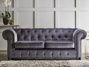 chelmsford grey 3 seater plush velvet chesterfield sofa