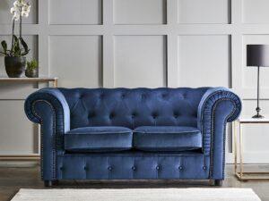 chelmsford indigo blue 2 seater plush velvet chesterfield sofa