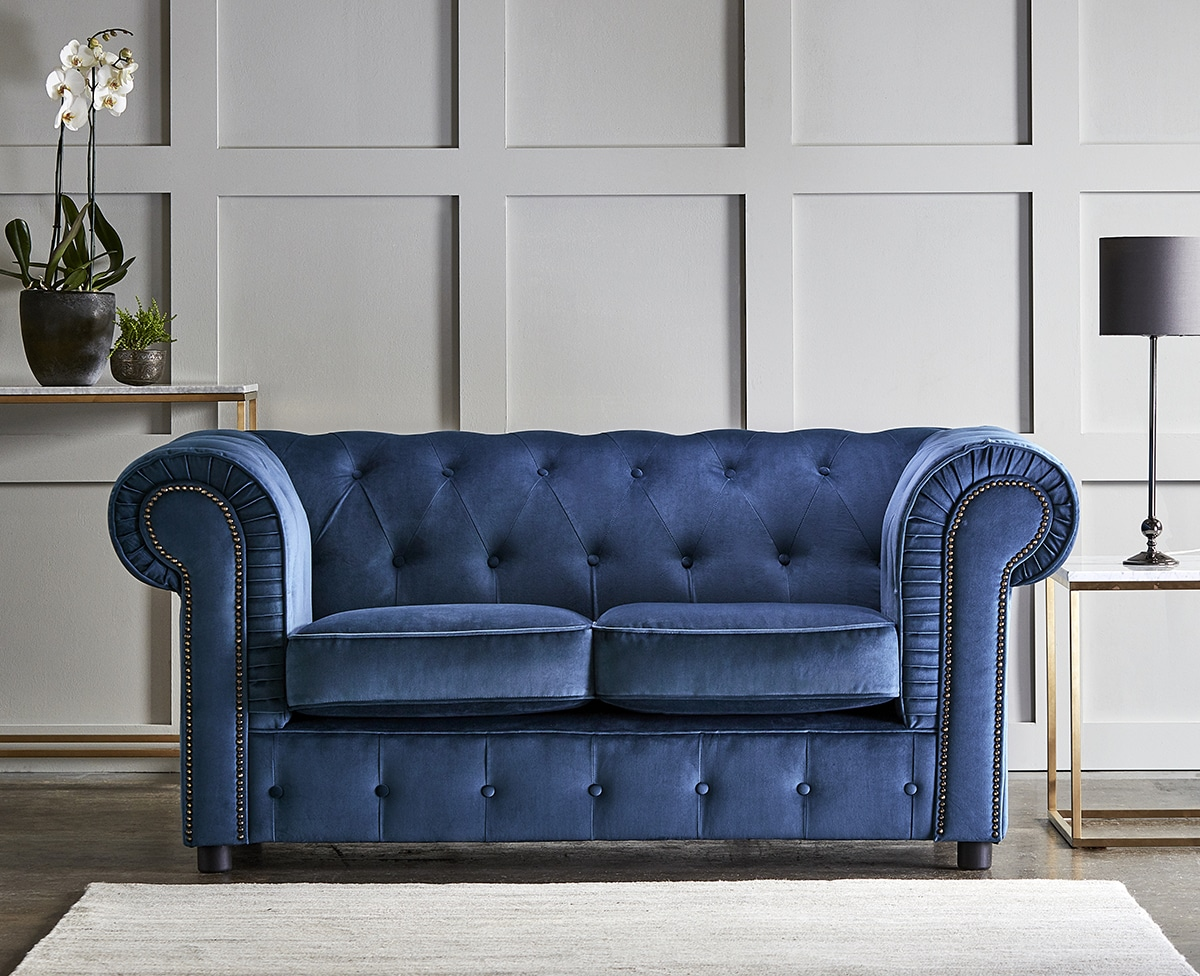 chelmsford indigo blue 2 seater plush velvet chesterfield sofa