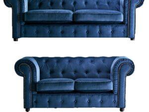 chelmsford indigo blue 3 and 2 sofa suite plush velvet chesterfield sofa