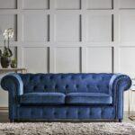 chelmsford indigo blue 3 seater plush velvet chesterfield sofa