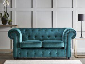 chelmsford teal 2 seater plush velvet chesterfield sofa