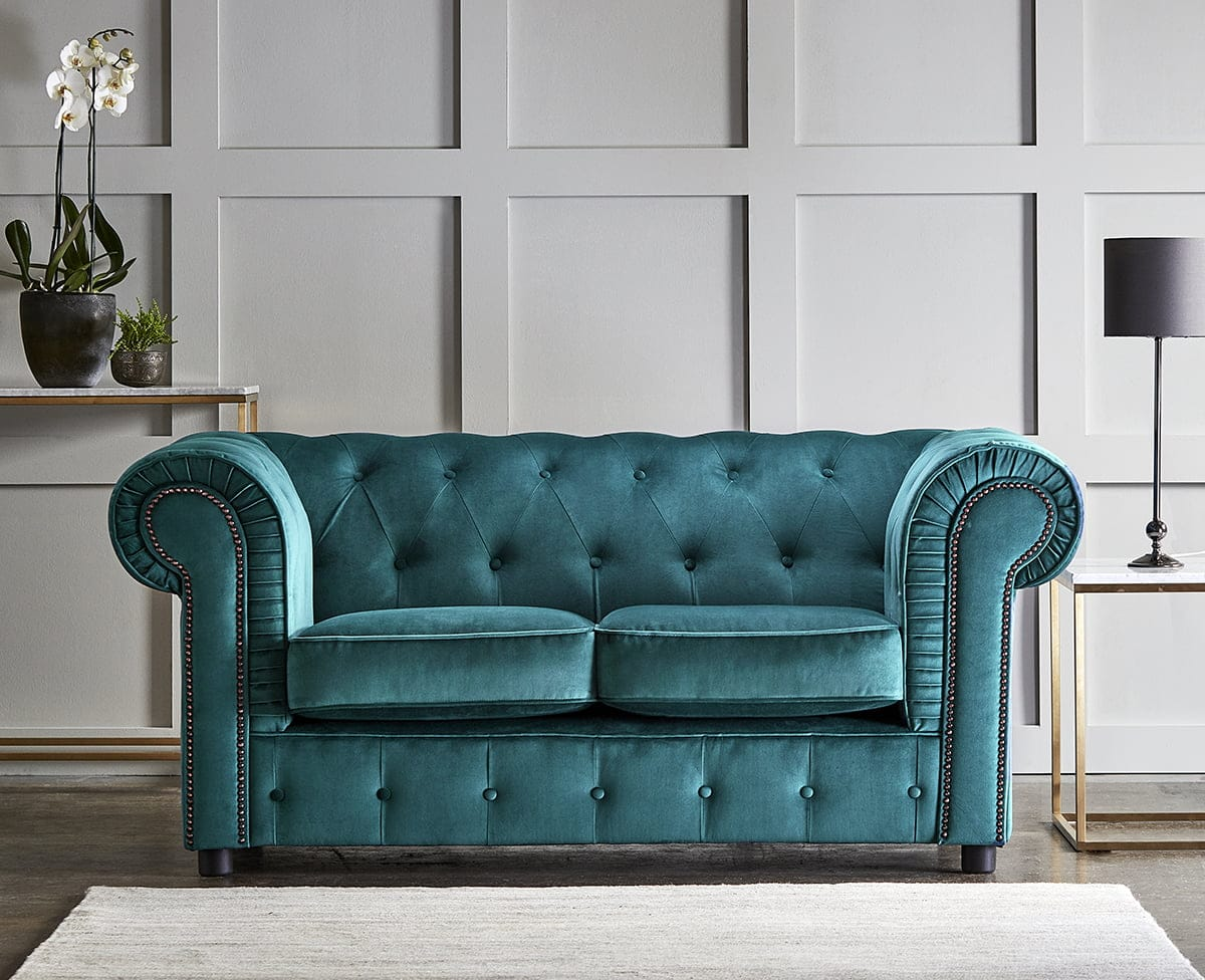 chelmsford teal 2 seater plush velvet chesterfield sofa