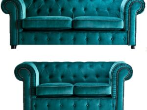 chelmsford teal 3 and 2 sofa suite plush velvet chesterfield sofa