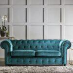 chelmsford teal 3 seater plush velvet chesterfield sofa