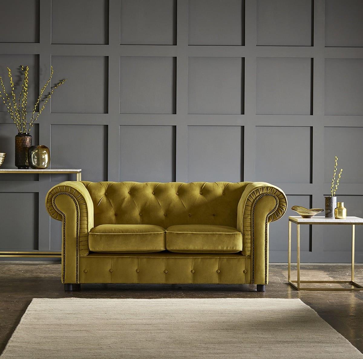 chelmsford yellow 2 seater plush velvet chesterfield sofa