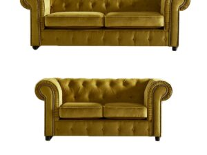 chelmsford yellow 3 and 2 sofa suite plush velvet chesterfield sofa