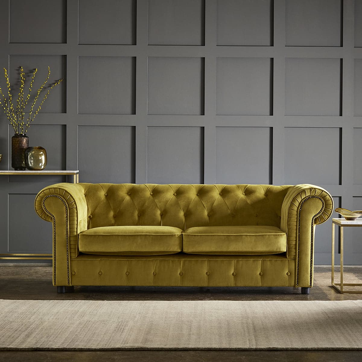 chelmsford yellow 3 seater plush velvet chesterfield sofa