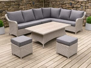 Antigua Relaxed Corner Dining Set Stone Grey With Rise & Fall Table