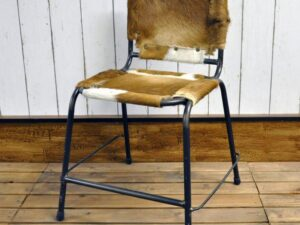 Brown Cow Leather Dining Chair 48X52X55CM