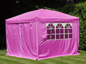 Gazebo Pop Up Pink 3 X 3M With Side Panels