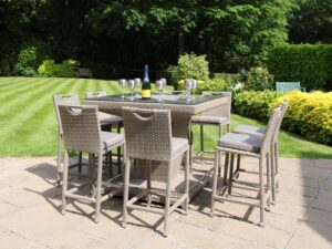 Deluxe Rattan Square 8 Seater Bar Set, Taupe