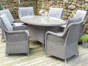 Slate Grey Barbados 6 Seater Oval Dining Set