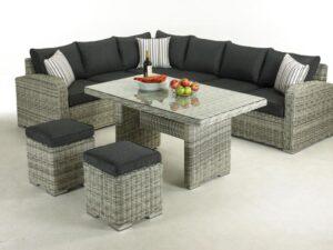 Broadwater Luxury Half Round Rattan Corner Dining Set 6-8 Seater