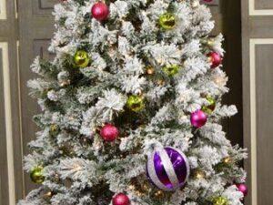 7Ft Slim Flocked Spruce Pre-Lit Christmas Tree