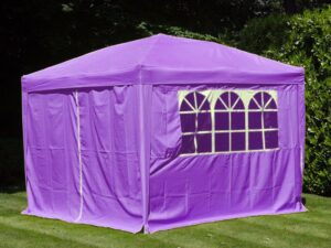 Gazebo Pop Up Purple 3 X 3M With Side Panels