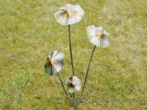 Decorative Mushroom Metal Stake Garden Ornament Green