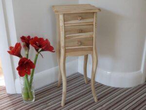 New Teak Wooden 3 Drawer Bedside Cabinet Square Unfinished