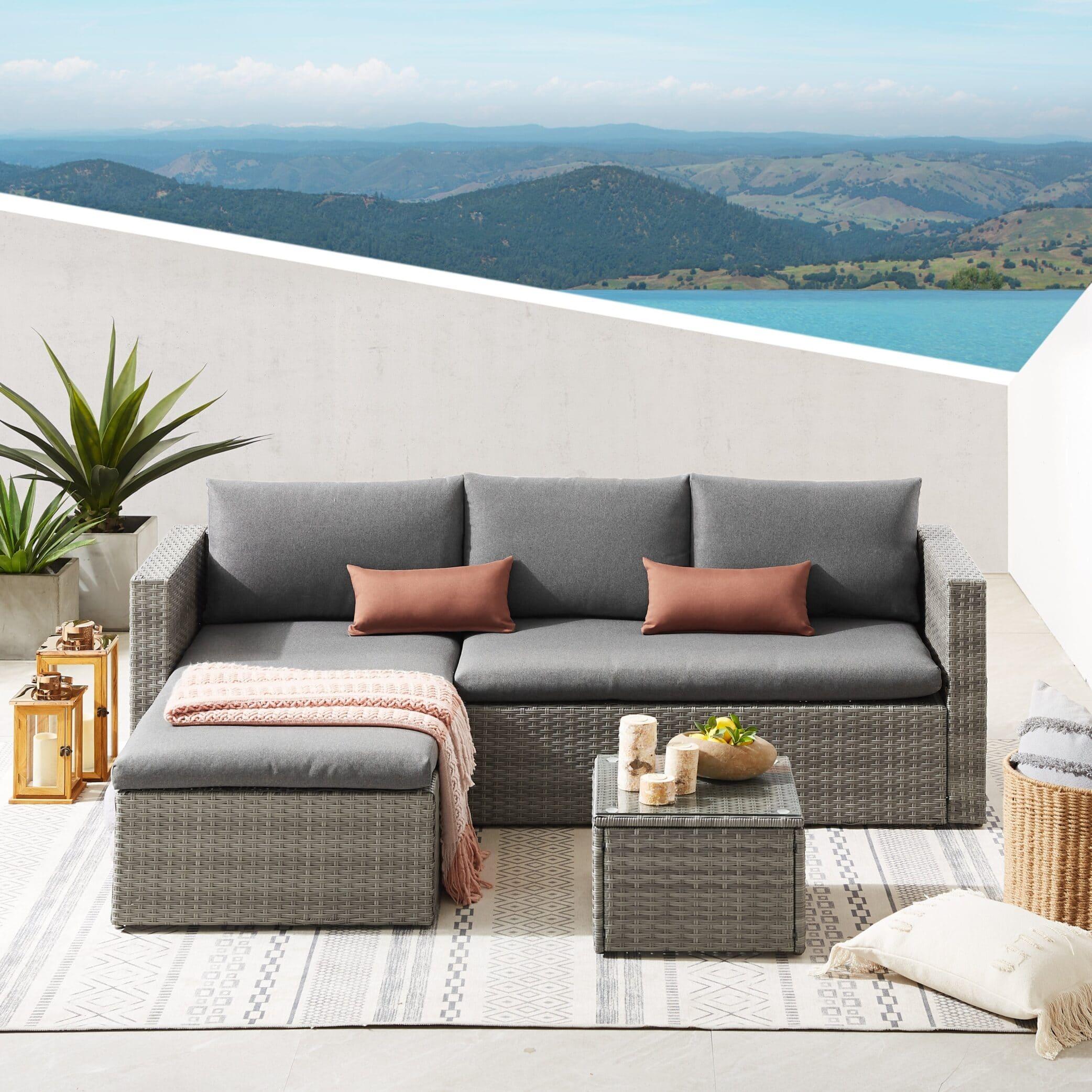Grey rattan corner sofa