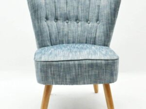 Blue Linen Cocktail Bedroom Chair