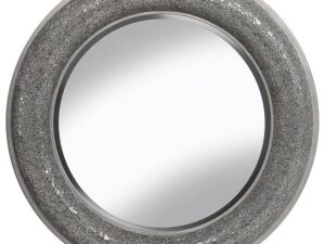 Mosaic Bow Sparkle Shimmer Oval Mirror Silver 80x80cm