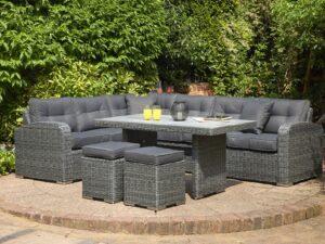 Luxury Grey Half Round Rattan Corner Dining Set 6-8 Seater