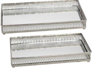 Set of Rectangular Nickel Plated Trays