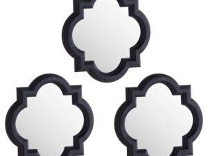 Set Of Three Dark Grey Quartrefoil Mirrors