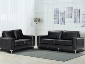 Chelsea black leather sofa suite for living rooms and businesses
