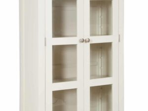 French Ivory Cream Painted Display Cabinet 2 Door 1 Drawer