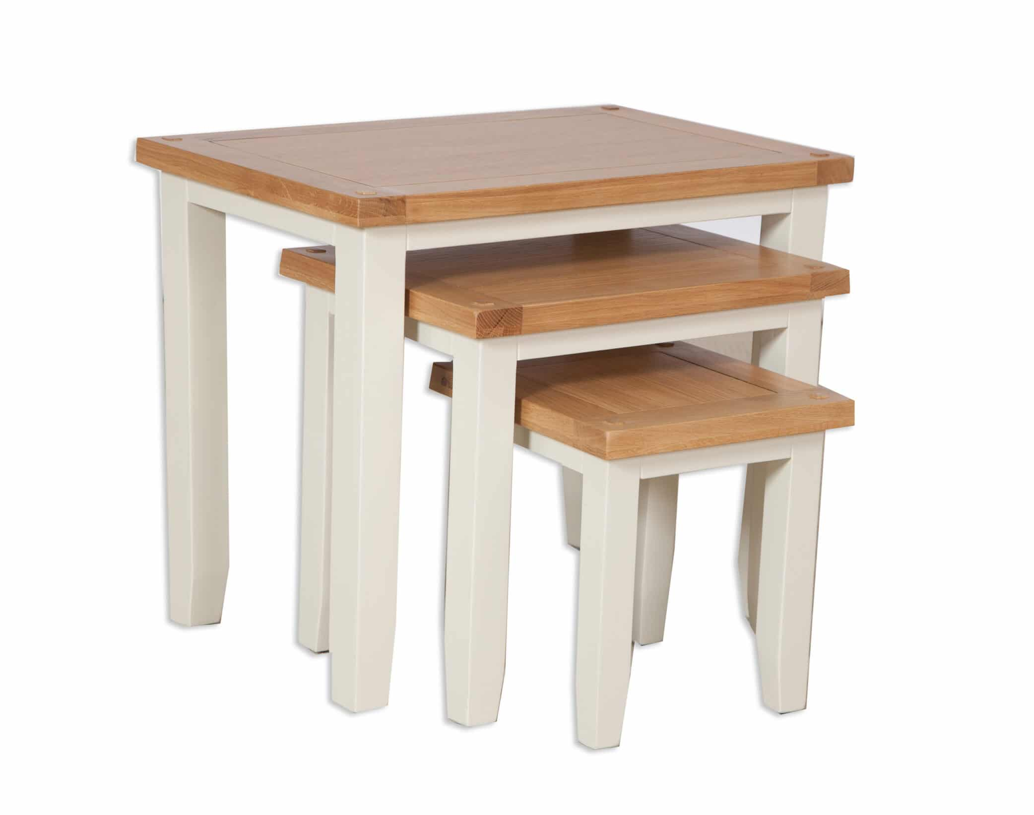 French Ivory Cream Nest Of 3 Tables