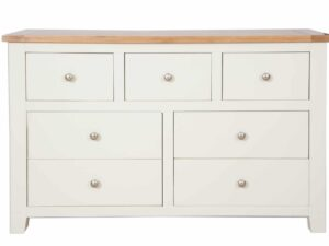 French Ivory Cream 7 Drawer Wide Chest