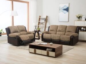Mavis Fabric 3 and 2 seater brown and beige reclining sofa suite for living rooms conservatories